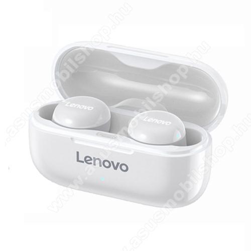 LENOVO LP11 TWS SZTEREO BLUETOOTH HEADSET - v5.0, érintéssel vezérelhető, mikrofon, zajszűrő, támogatja az fülhallgató külön használatát, 3 óra zenehallgatási idő, 300mAh töltőtok - FEHÉR - GYÁRI