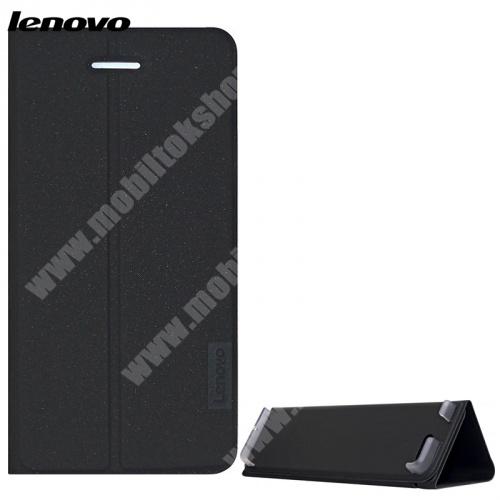 Lenovo notesz / mappa tok - FEKETE - oldalra nyíló flip cover, TRIFOLD asztali tartó funkciós - képernyővédő fóliával! - Lenovo Tab 7 Essential (2017) / Lenovo Tab 4 7 (TB-7304F) - ZG38C02325 - GYÁRI