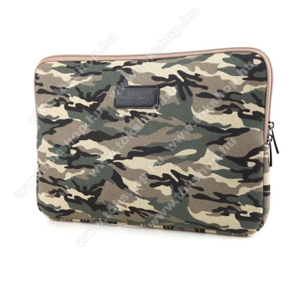 LISEN Tablet / Laptop UNIVERZÁLIS tok / táska - BARNA - TEREPMINTÁS - Szövet, bársony belső, kétirányú cipzár, ütődésálló, vízálló - ERŐS VÉDELEM! - 11.6