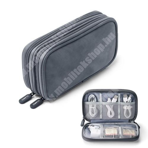 PHILIPS W8510 LLANO UNIVERZÁLIS tok / táska - VILÁGOSSZÜRKE - PU bőr / szövet, több fakkos, fülhallgatók, telefon, kábelek, memóriakártyák, pendriveok számára ideális, cseppálló, hálós zsebek, cipzár, hordozható - 195 x 120  x 55mm