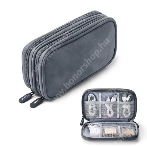 HUAWEI Honor V40 5G LLANO UNIVERZÁLIS tok / táska - VILÁGOSSZÜRKE - PU bőr / szövet, több fakkos, fülhallgatók, telefon, kábelek, memóriakártyák, pendriveok számára ideális, cseppálló, hálós zsebek, cipzár, hordozható - 195 x 120  x 55mm