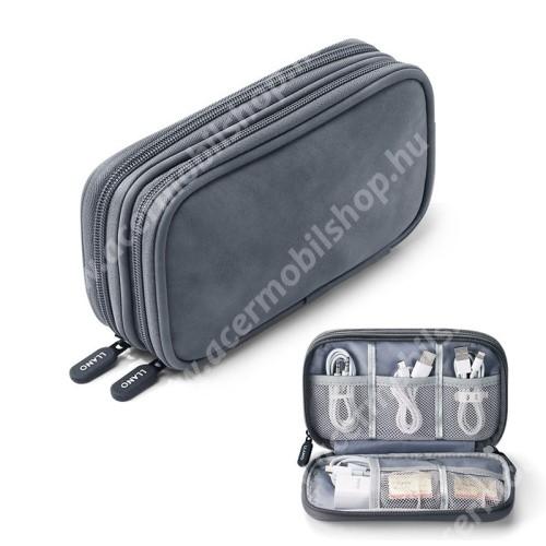 ACER Liquid Z3 LLANO UNIVERZÁLIS tok / táska - VILÁGOSSZÜRKE - PU bőr / szövet, több fakkos, fülhallgatók, telefon, kábelek, memóriakártyák, pendriveok számára ideális, cseppálló, hálós zsebek, cipzár, hordozható - 195 x 120  x 55mm