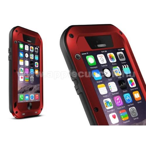LOVE MEI Powerful defender m?anyag v�d? tok - szilikon bels?, Gorilla Glass �veg, f�m keret - EXTR�M V�DELEM! - PIROS / FEKETE - APPLE iPhone 6 - GY�RI