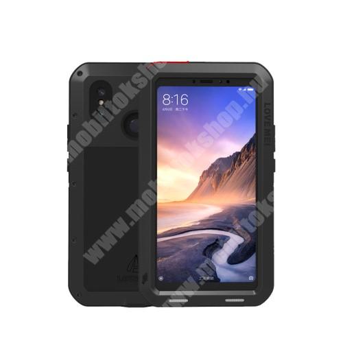 LOVE MEI Powerful defender védő tok / hátlap - ütésálló, Gorilla Glass üveg, fém keret, szilikon betétes - FEKETE - Xiaomi Mi Max 3 - GYÁRI
