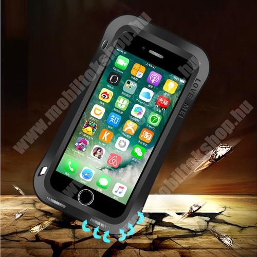 LOVE MEI Powerful defender védő tok / hátlap - ütésálló, Gorilla Glass üveg, fém keret, szilikon betétes - FEKETE - APPLE iPhone 7 Plus (5.5) / APPLE iPhone 8 Plus (5.5) - GYÁRI