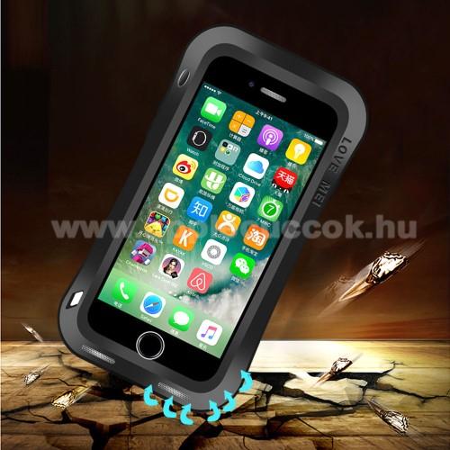 APPLE iPhone 7 PlusLOVE MEI Powerful defender védő tok / hátlap - ütésálló, Gorilla Glass üveg, fém keret, szilikon betétes - FEKETE - APPLE iPhone 7 Plus (5.5) / APPLE iPhone 8 Plus (5.5) - GYÁRI