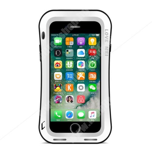 LOVE MEI Powerful defender védő tok / hátlap - ütésálló, Gorilla Glass üveg, fém keret, szilikon betétes - FEHÉR - APPLE iPhone 7 Plus (5.5) / APPLE iPhone 8 Plus (5.5) - GYÁRI