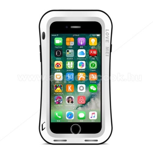 APPLE iPhone 7 PlusLOVE MEI Powerful defender védő tok / hátlap - ütésálló, Gorilla Glass üveg, fém keret, szilikon betétes - FEHÉR - APPLE iPhone 7 Plus (5.5) / APPLE iPhone 8 Plus (5.5) - GYÁRI