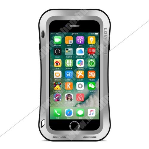 LOVE MEI Powerful defender védő tok / hátlap - ütésálló, Gorilla Glass üveg, fém keret, szilikon betétes - EZÜST - APPLE iPhone 7 Plus (5.5) / APPLE iPhone 8 Plus (5.5) - GYÁRI