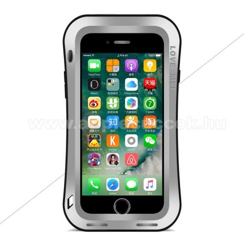 APPLE iPhone 7 PlusLOVE MEI Powerful defender védő tok / hátlap - ütésálló, Gorilla Glass üveg, fém keret, szilikon betétes - EZÜST - APPLE iPhone 7 Plus (5.5) / APPLE iPhone 8 Plus (5.5) - GYÁRI