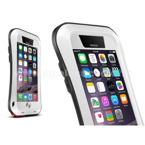 LOVE MEI SLIM defender m?anyag v�d? tok - szilikon bels?, Gorilla Glass �veg, f�m keret - EXTR�M V�DELEM! - FEH�R / FEKETE - APPLE iPhone 6 Plus - GY�RI