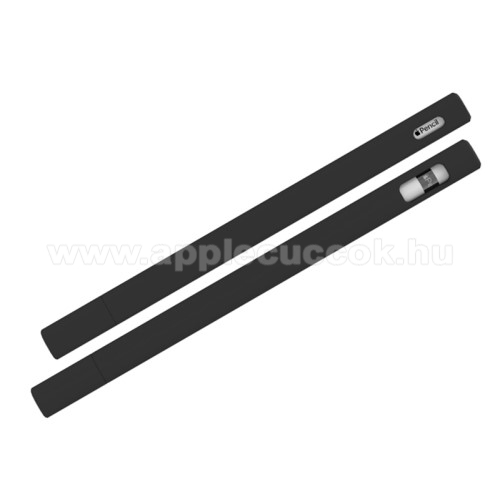 LOVE MEI szilikon védő tok Apple Pencil-hez (2nd Generation) - 2db sapka, 5db hegyvédő, 0,4mm vékony - FEKETE - GYÁRI