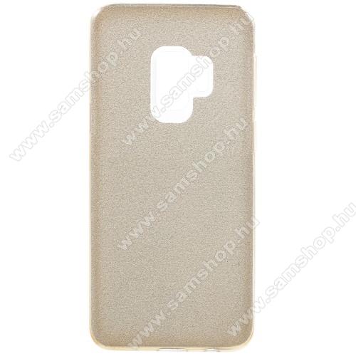 Mûanyag védõ tok / hátlap - szilikon keret - Csillámos - ROSE GOLD - SAMSUNG SM-G960 Galaxy S9