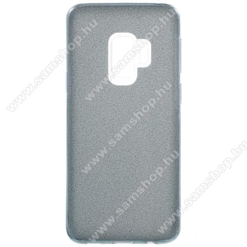 Mûanyag védõ tok / hátlap - szilikon keret - Csillámos - SZÜRKE - SAMSUNG SM-G960 Galaxy S9