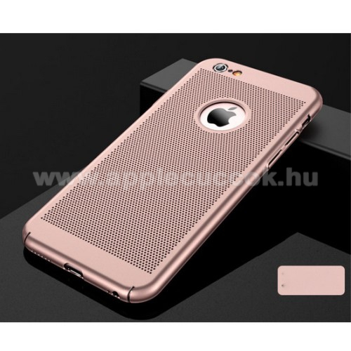 M?anyag v�d? tok / h�tlap - lyukacsos mint�s - ROSE GOLD - APPLE iPhone 7 / APPLE iPhone 8