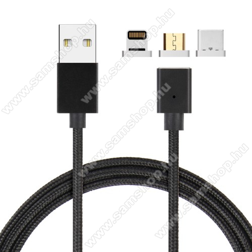 SAMSUNG GT-S5500 EcoMágneses adatátviteli kábel / USB töltő - 3 az 1-ben Lightning, microUSB, Type-C / USB csatlakozás, 1m, 5V/2.1A, cserélhető fejekkel, szövettel bevont - FEKETE