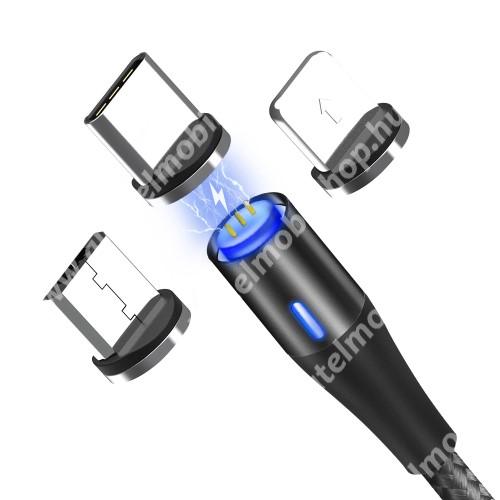 ALCATEL OT-208 Mágneses adatátviteli kábel / USB töltő - 3 az 1-ben Lightning, microUSB, Type-C / USB csatlakozás, 1m, 5V/3A, cserélhető fejekkel, szövettel bevont, gyorstöltés támogtás, adatátvitelre is képes! - FEKETE