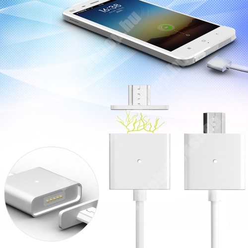 HTC HD 2 Mágneses adatátviteli kábel / USB töltő - microUSB 2.0, 1m hosszú, porvédő funkció, akár 2,4A töltőáram átvitelére képes - FEHÉR