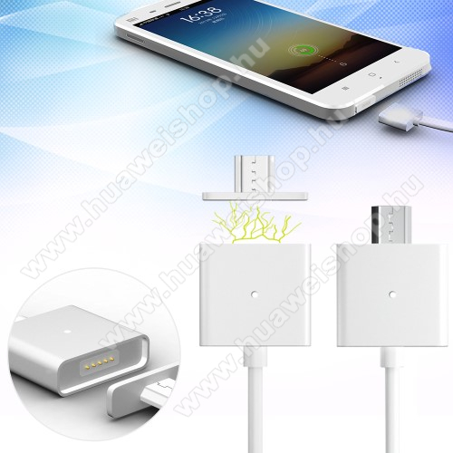 HUAWEI Honor Play 3Mágneses adatátviteli kábel / USB töltő - microUSB 2.0, 1m hosszú, porvédő funkció, akár 2,4A töltőáram átvitelére képes - FEHÉR