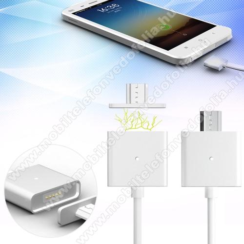 OPPO F7 YouthMágneses adatátviteli kábel / USB töltő - microUSB 2.0, 1m hosszú, porvédő funkció, akár 2,4A töltőáram átvitelére képes - FEHÉR
