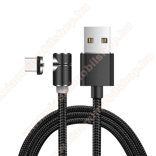 Xiaomi Mi True Wireless Earphones 2SMágneses adatátviteli kábel / USB töltő - USB 3.1 Type C, 2.4A, 1m hosszú, szövettel bevont, töltésjelző LED, 90°-os derékszögű, CSAK TÖLTÉSRE ALKALMAS ADATÁTVITELRE NEM! - FEKETE
