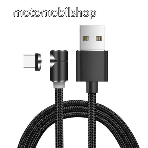 Mágneses adatátviteli kábel / USB töltő - USB 3.1 Type C, 2.4A, 1m hosszú, szövettel bevont, töltésjelző LED, 90°-os derékszögű, CSAK TÖLTÉSRE ALKALMAS ADATÁTVITELRE NEM! - FEKETE