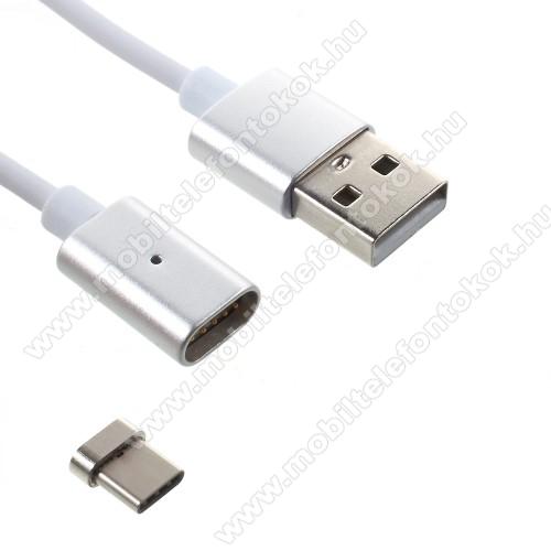 Mágneses adatátviteli kábel / USB töltő - USB 3.1 Type C, 1m hosszú, porvédő funkció - EZÜST