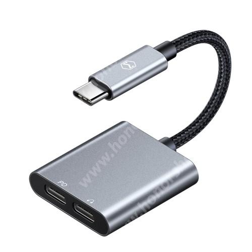 HUAWEI Honor V40 5G MCDODO audio adapter - Type-C / Type-C digitális audio + Type-C töltő aljzattal, 60W PD gyorstöltés támogatás, DAC chip, 13cm hosszú szövettel bevont kábel - SZÜRKE / FEKETE