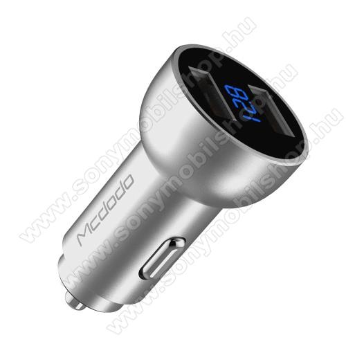 SONY Xperia M DUALMCDODO szivargyújtó / autós töltő - 2db USB aljzattal, 5V/3.4A, digitális kijelzés - EZÜST