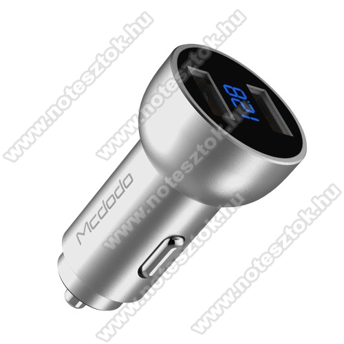 SAMSUNG Galaxy Tab Active Pro (Wi-Fi) (SM-T545)MCDODO szivargyújtó / autós töltő - 2db USB aljzattal, 5V/3.4A, digitális kijelzés - EZÜST
