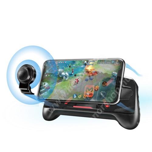 HUAWEI Honor V40 5G MEMO A-KING UNIVERZÁLIS kontroller / Joystick - ravasz FPS játékokhoz, gamepad, PUBG-hez ajánlott, kitámasztható, analóg, 52-83mm-ig nyíló bölcső - FEKETE - GYÁRI