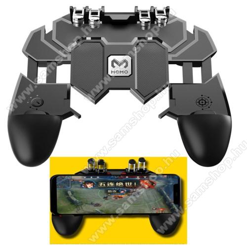 SAMSUNG Galaxy S6 Active (SM-G890)MEMO AK66 UNIVERZÁLIS Kontroller / Joystick - ravasz FPS játékokhoz, PUBG-hez ajánlott, 67-90mm-ig nyíló bölcsővel - FEKETE - GYÁRI