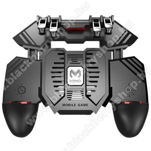 BLACKBERRY 9100 Pearl 3GMEMO AK77 UNIVERZÁLIS Kontroller / Joystick - ravasz FPS játékokhoz, gamepad, beépített hűtőventilátor, beépített 4000mAh-os akkumulátor tölthető a telefon játék közben, 67-90mm-ig nyíló bölcsővel - FEKETE - GYÁRI