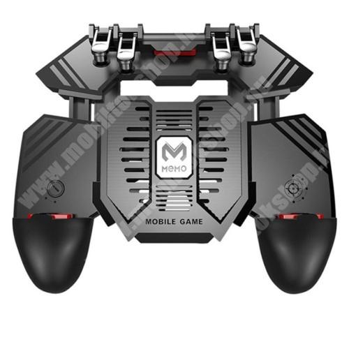 HTC Desire 12s MEMO AK77 UNIVERZÁLIS Kontroller / Joystick - ravasz FPS játékokhoz, gamepad, beépített hűtőventilátor CSAK microUSB KÁBELLEL MŰKÖDIK, 67-90mm-ig nyíló bölcső - FEKETE - GYÁRI