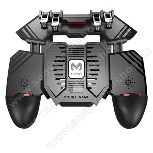 SONY Xperia 10 Plus (2019)MEMO AK77 UNIVERZÁLIS Kontroller / Joystick - ravasz FPS játékokhoz, gamepad, beépített hűtőventilátor CSAK microUSB KÁBELLEL MŰKÖDIK, 67-90mm-ig nyíló bölcső - FEKETE - GYÁRI