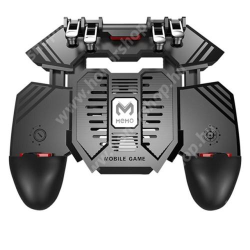 HUAWEI Honor 3 MEMO AK77 UNIVERZÁLIS Kontroller / Joystick - ravasz FPS játékokhoz, gamepad, beépített hűtőventilátor CSAK microUSB KÁBELLEL MŰKÖDIK, 67-90mm-ig nyíló bölcső - FEKETE - GYÁRI