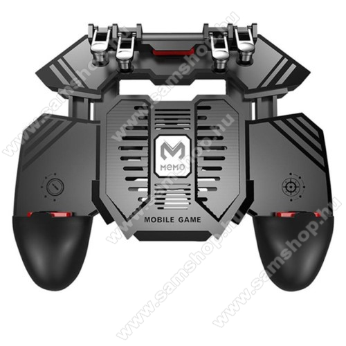 SAMSUNG Galaxy Grand 3 (SM-G7200) MEMO AK77 UNIVERZÁLIS Kontroller / Joystick - ravasz FPS játékokhoz, gamepad, beépített hűtőventilátor CSAK microUSB KÁBELLEL MŰKÖDIK, 67-90mm-ig nyíló bölcső - FEKETE - GYÁRI