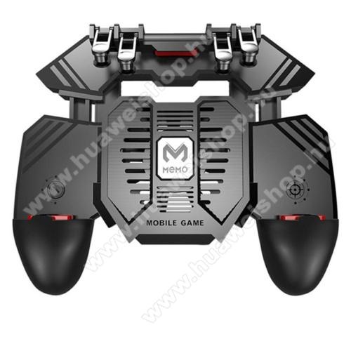 HUAWEI Mate 8MEMO AK77 UNIVERZÁLIS Kontroller / Joystick - ravasz FPS játékokhoz, gamepad, beépített hűtőventilátor CSAK microUSB KÁBELLEL MŰKÖDIK, 67-90mm-ig nyíló bölcső - FEKETE - GYÁRI