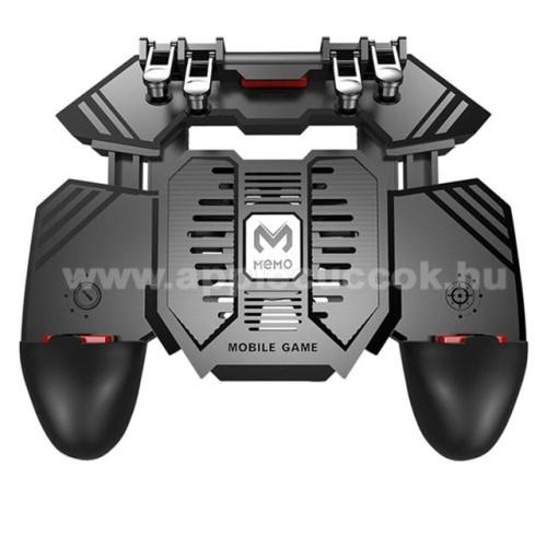 APPLE iPhone 8 PlusMEMO AK77 UNIVERZÁLIS Kontroller / Joystick - ravasz FPS játékokhoz, gamepad, beépített hűtőventilátor CSAK microUSB KÁBELLEL MŰKÖDIK, 67-90mm-ig nyíló bölcső - FEKETE - GYÁRI