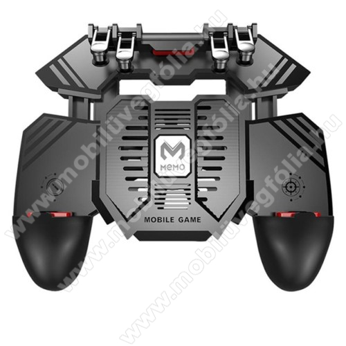 SAMSUNG Galaxy S10 Lite (SM-G770F)MEMO AK77 UNIVERZÁLIS Kontroller / Joystick - ravasz FPS játékokhoz, gamepad, beépített hűtőventilátor CSAK microUSB KÁBELLEL MŰKÖDIK, 67-90mm-ig nyíló bölcső - FEKETE - GYÁRI