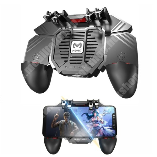 MOTOROLA Moto G4 MEMO AK77 UNIVERZÁLIS Kontroller / Joystick - ravasz FPS játékokhoz, gamepad, beépített hűtőventilátor, beépített 1200mAh-os akkumulátor tölthető a telefon játék közben, 67-90mm-ig nyíló bölcsővel - FEKETE - GYÁRI