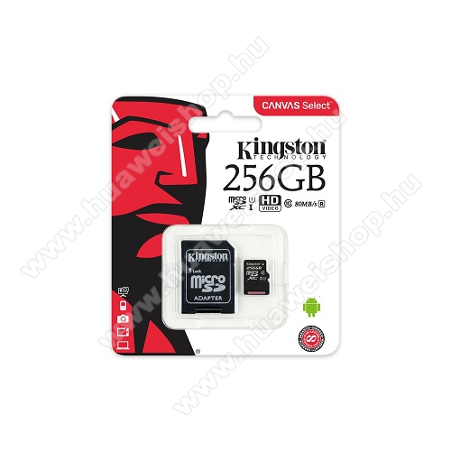 HUAWEI Honor Pad 2 8.0 MEMÓRIA KÁRTYA KINGSTON CANVAS SELECT MICROSDXC 256GB (CLASS 10), UHS-I MEMÓRIAKÁRTYA ADAPTERREL (SDCS/256GB) - KINGSTON