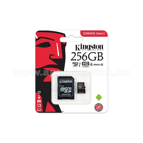 MEM�RIA K�RTYA KINGSTON CANVAS SELECT MICROSDXC 256GB (CLASS 10), UHS-I MEM�RIAK�RTYA ADAPTERREL (SDCS/256GB) - KINGSTON