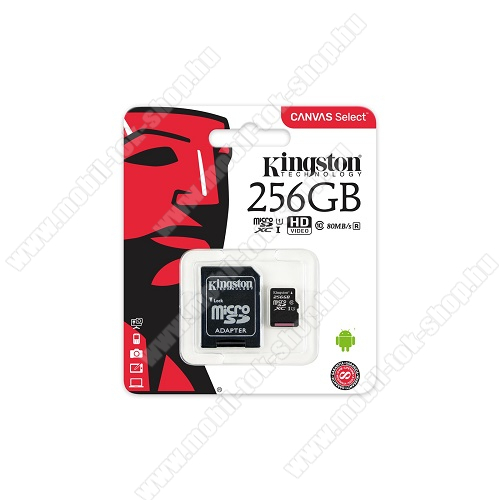MEMÓRIA KÁRTYA KINGSTON CANVAS SELECT MICROSDXC 256GB (CLASS 10), UHS-I MEMÓRIAKÁRTYA ADAPTERREL (SDCS/256GB) - KINGSTON