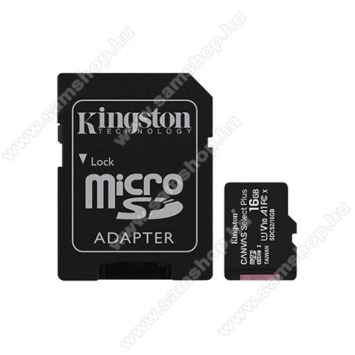 SAMSUNG A687 Strive MEMÓRIA KÁRTYA KINGSTON CANVAS SELECT PLUS MICROSDHC 16GB (CLASS 10), UHS-I MEMÓRIAKÁRTYA ADAPTERREL (SDCS2/16GB)