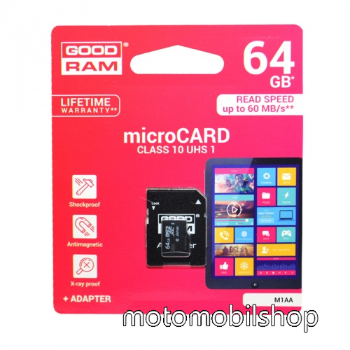 MEMÓRIA KÁRTYA TransFlash 64 GB - microSDHC, Class 10, UHS-i 1, SD adapter - GOODRAM