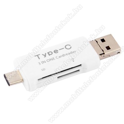 Memóriakártya olvasó - microSD, SD / Type C, 128GB-os kártyág használható - FEHÉR
