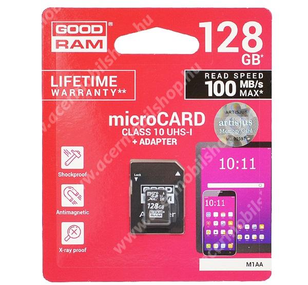 MEMÓRIAKÁRTYA TransFlash 128GB - CLASS 10, microSDHC - Class 10, 100MB/s max, UHS-1 + SD adapter - M1AA-1280R12 - GYÁRI