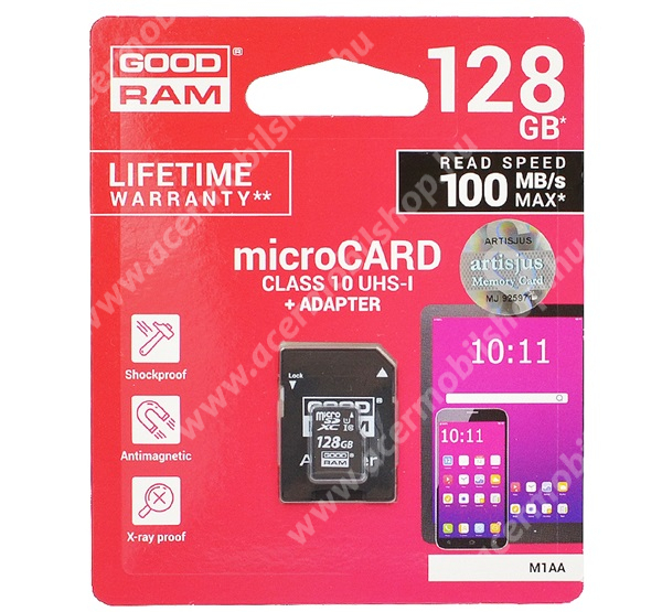 ACER Liquid E600 MEMÓRIAKÁRTYA TransFlash 128GB - CLASS 10, microSDHC - Class 10, 100MB/s max, UHS-1 + SD adapter - M1AA-1280R12 - GYÁRI