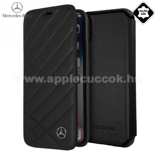 APPLE iPhone XS MERCEDES-BENZ tok �ll�, val�di b?r (FLIP, oldalra ny�l�, bankk�rtya tart�, cs�kos) FEKETE - MEFLBKPXCLIBK - Apple iPhone X 5.8, Apple iPhone XS 5.8 - GY�RI
